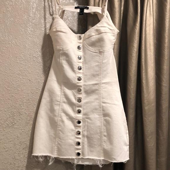 Forever 21 Dresses & Skirts - WHITE DENIM OPEN BACK BUTTON UP MINI DRESS SIZE S